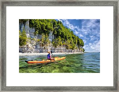 Door County Kayaking Around Rock Island State Park Framed Print by Christopher Arndt