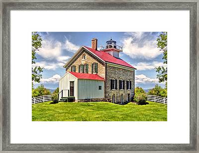 Door County Pottawatomie Lighthouse Rock Island Framed Print by Christopher Arndt