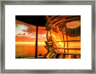 Door County Pottawatomie Lighthouse Sunrise Rock Island Framed Print by Christopher Arndt