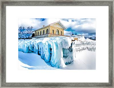 Door County Rock Island Chester Thordarson Boathouse Framed Print by Christopher Arndt