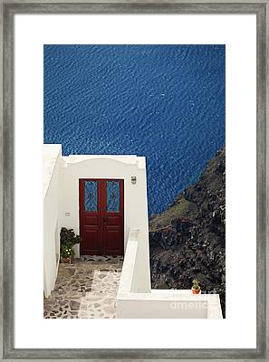 Door Facing The Aegean Sea Framed Print by Aiolos Greek Collections