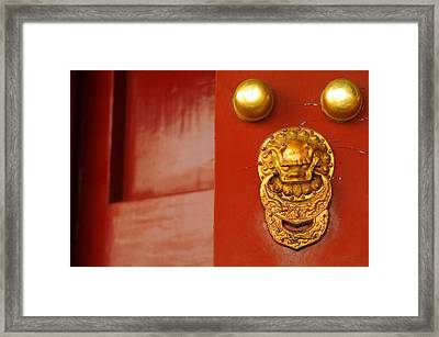 Door Handle Framed Print by Sebastian Musial