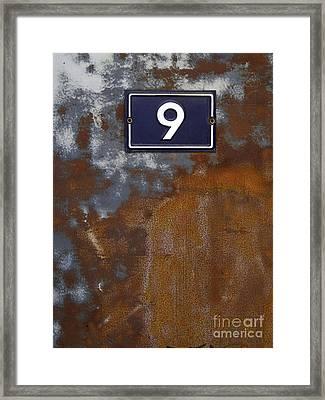 Door In Scrap Metal  And Number 9 Framed Print