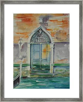 Door In Venice-italy Framed Print