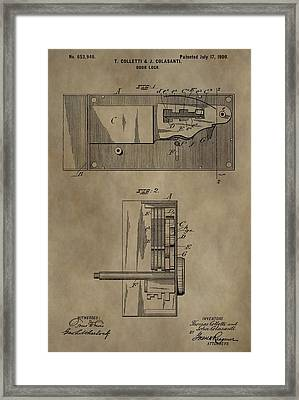 Door Lock Patent Framed Print by Dan Sproul