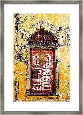 Framed Print featuring the photograph Door Series - Yellow by Susan Parish