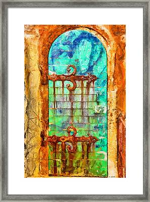 Framed Print featuring the painting Door To Lighthouse by Kai Saarto