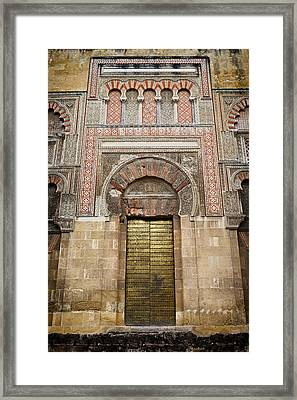 Door To The Mosque Cathedral Of Cordoba Framed Print by Artur Bogacki