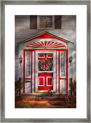 Door - Winter - Christmas Kitty Framed Print by Mike Savad