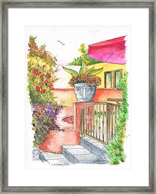 Door With A Flower Pot In Venice Beach - California Framed Print