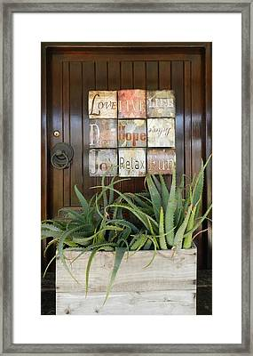Door With A Message Framed Print by Leana De Villiers