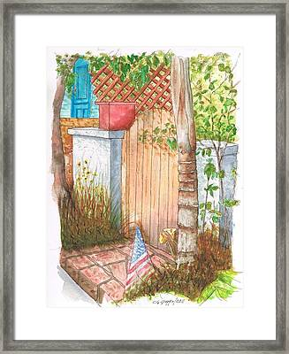 Door With Flag In Venice Canal - California Framed Print by Carlos G Groppa