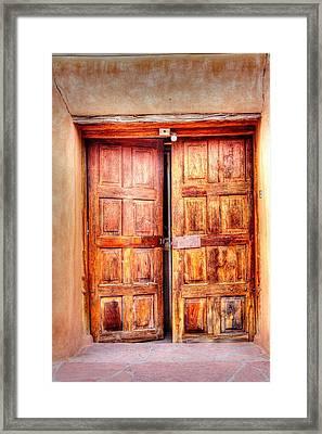Doors To The Inner Santuario De Chimayo Framed Print by Lanita Williams