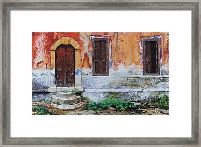 Doorway, Corfu, 2006 Oil On Paper Framed Print by Trevor Neal