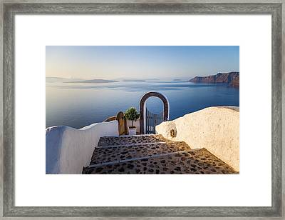 Doorway In Santorini Framed Print