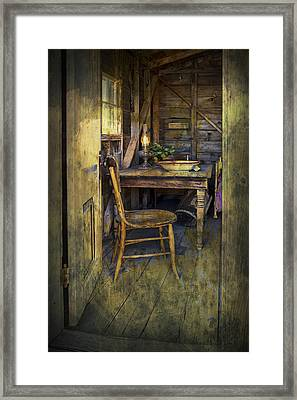 Doorway With Chair And Table Setting With Oil Lamp Framed Print