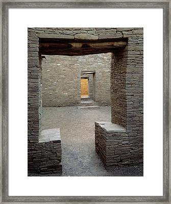 Doorways In Pueblo Bonito Ruin At Chaco Framed Print