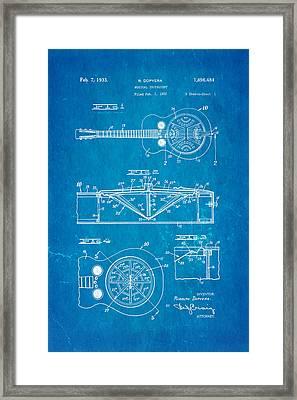 Dopyera Dobro Guitar Patent Art 1933 Blueprint Framed Print by Ian Monk