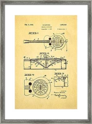 Dopyera Dobro Guitar Patent Art 1933 Framed Print by Ian Monk