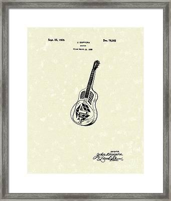 Dopyera Guitar 1928 Patent Art Framed Print by Prior Art Design
