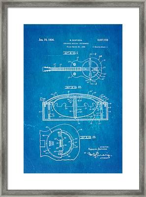 Dopyera Resonator Guitar Patent Art 1936 Blueprint Framed Print by Ian Monk