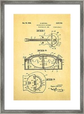 Dopyera Resonator Guitar Patent Art 1936 Framed Print by Ian Monk