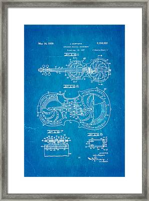 Dopyera Resophonic Violin Patent Art 1939 Blueprint Framed Print by Ian Monk