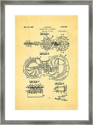 Dopyera Resophonic Violin Patent Art 1939 Framed Print by Ian Monk