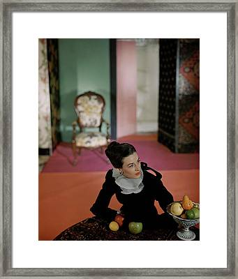 Dorian Leigh Wearing A Mark Mooring Dress Framed Print by Horst P. Horst