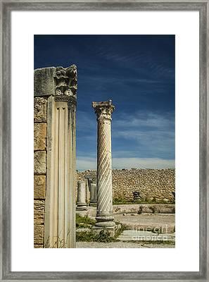 Doric Column At Volubilis In Morocco Framed Print by Patricia Hofmeester