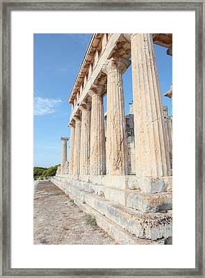 Doric Columns At Temple Of Aphaia Framed Print