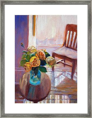 Dormer Light- Morning Light And Roses Framed Print