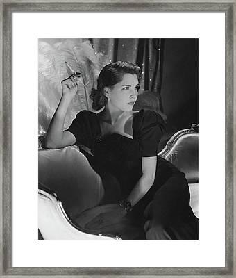 Dorothy Hart Hirshon Wearing A Schiaparelli Dress Framed Print