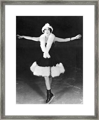 Dorothy Sebastian On Ice Framed Print by Underwood Archives