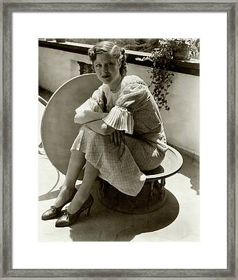 Dorothy Wilson Wearing A Plaid Dress Framed Print