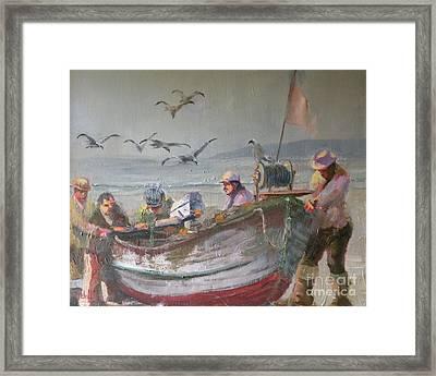 Dory Fishermen Framed Print by Ray Mitchell