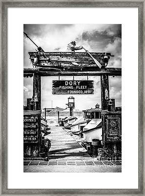 Dory Fishing Fleet Market Black And White Picture Framed Print by Paul Velgos