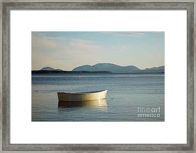 Dory In Harbor Framed Print by Christopher Mace