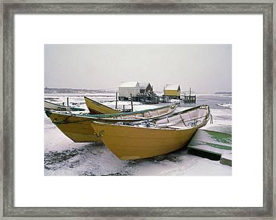 Dorys In Winter At Blue Rocks Nova Scotia Framed Print