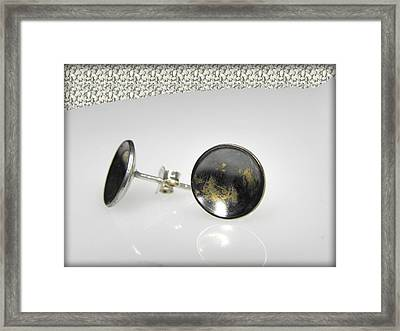 dotted sterling silver earrings with touch of 24K gold Framed Print