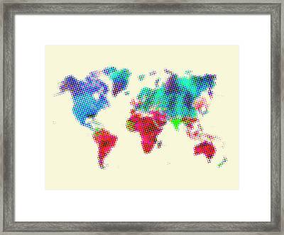 Dotted World Map 2 Framed Print by Naxart Studio