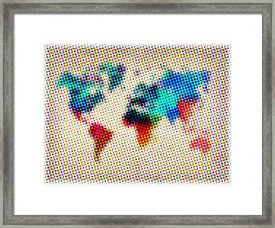 Dotted World Map Framed Print by Naxart Studio