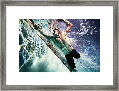 Double Amputee Swimming Framed Print
