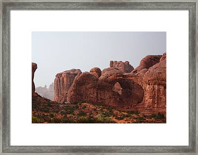 Double Arch In The Rain Framed Print