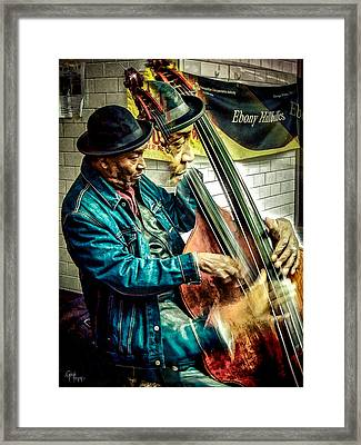 Double Bass. Man Framed Print