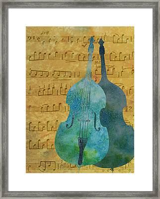 Double Bass Score Framed Print