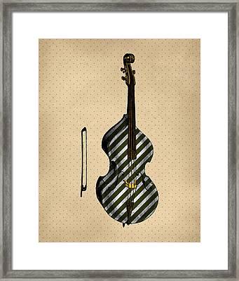 Double Bass Vintage Illustration Framed Print by Flo Karp