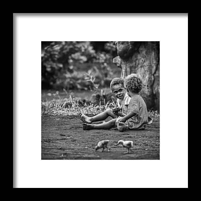 Chicken Portrait Framed Prints