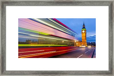 Double Decker And Big Ben Framed Print by Adam Pender