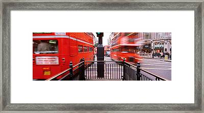 Double-decker Buses On The Road, Oxford Framed Print
